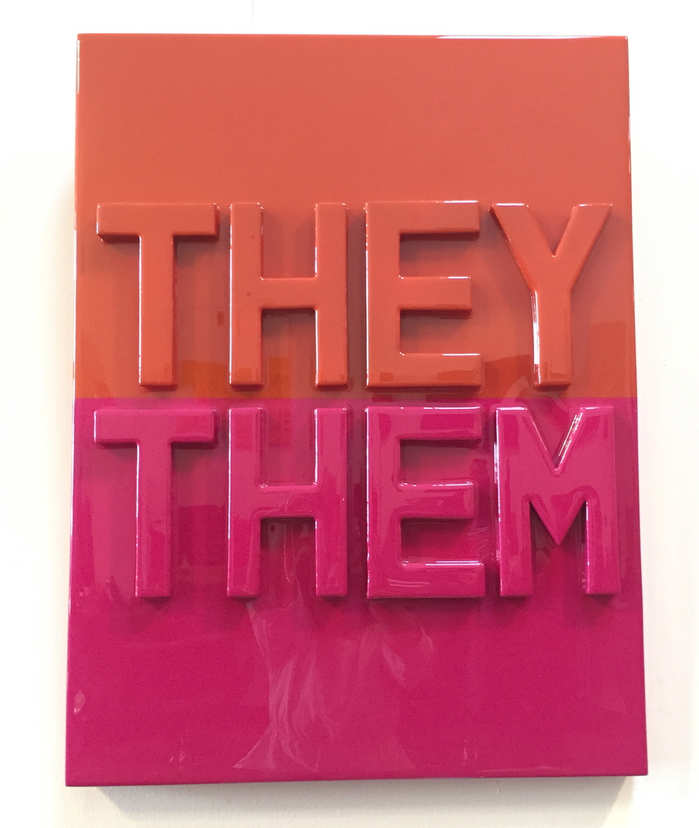 """THEY THEM, 2016   Cardboard and resin on wood panel.  36""""x 24""""  SOLD"""