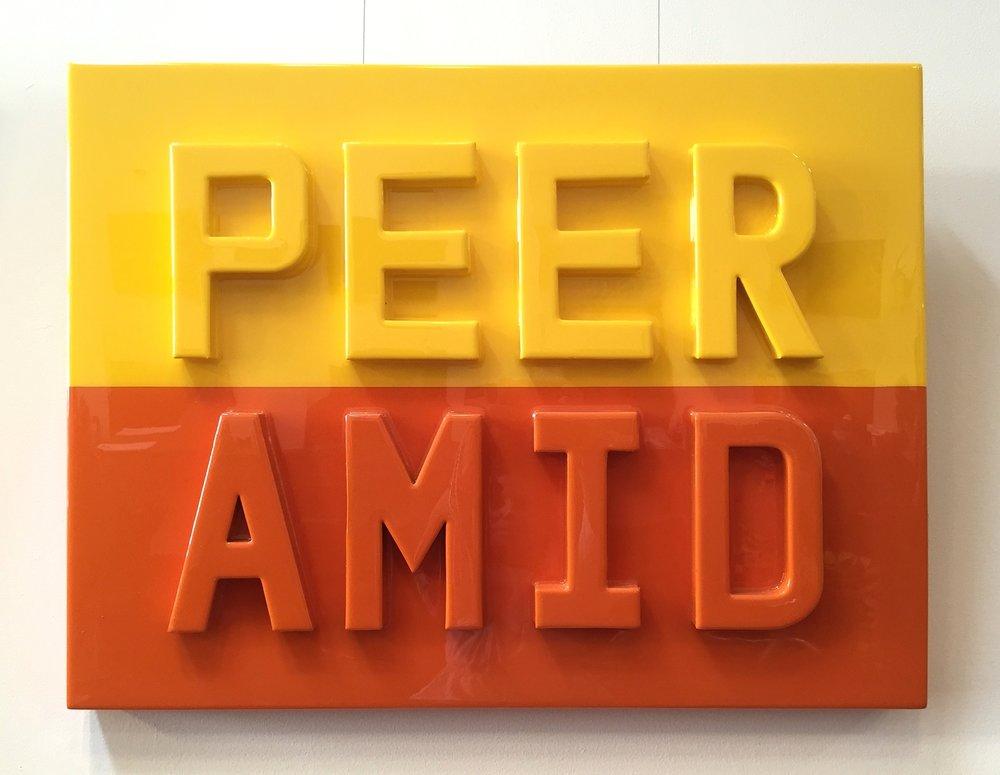 "PEER AMID, 2016   Cardboard, acrylic and resin on wood panel  24""x 36""  $3300  SOLD"