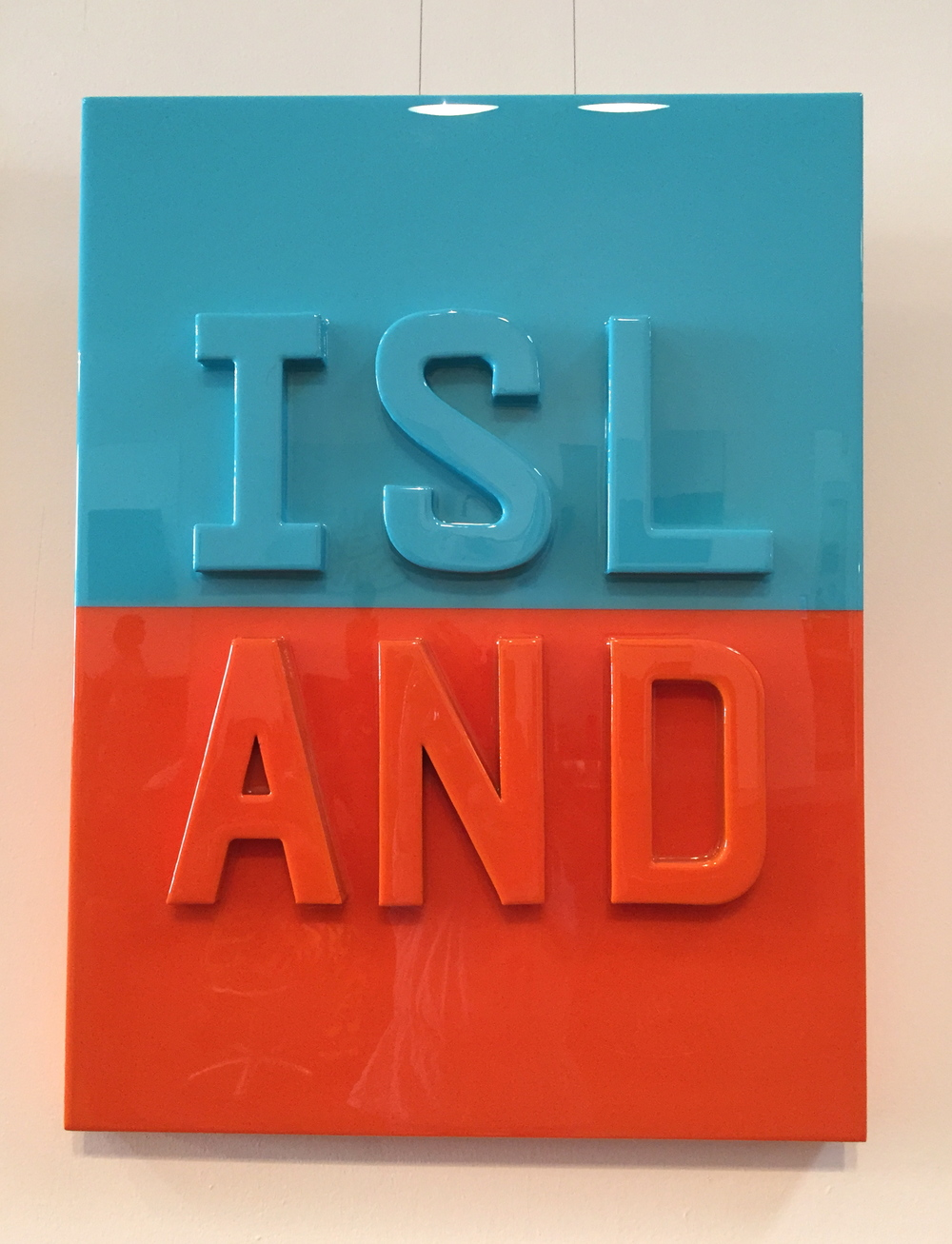 "ISLAND, 2016   Cardboard, acrylic and resin on wood panel.  36"" x 24""  $3300"