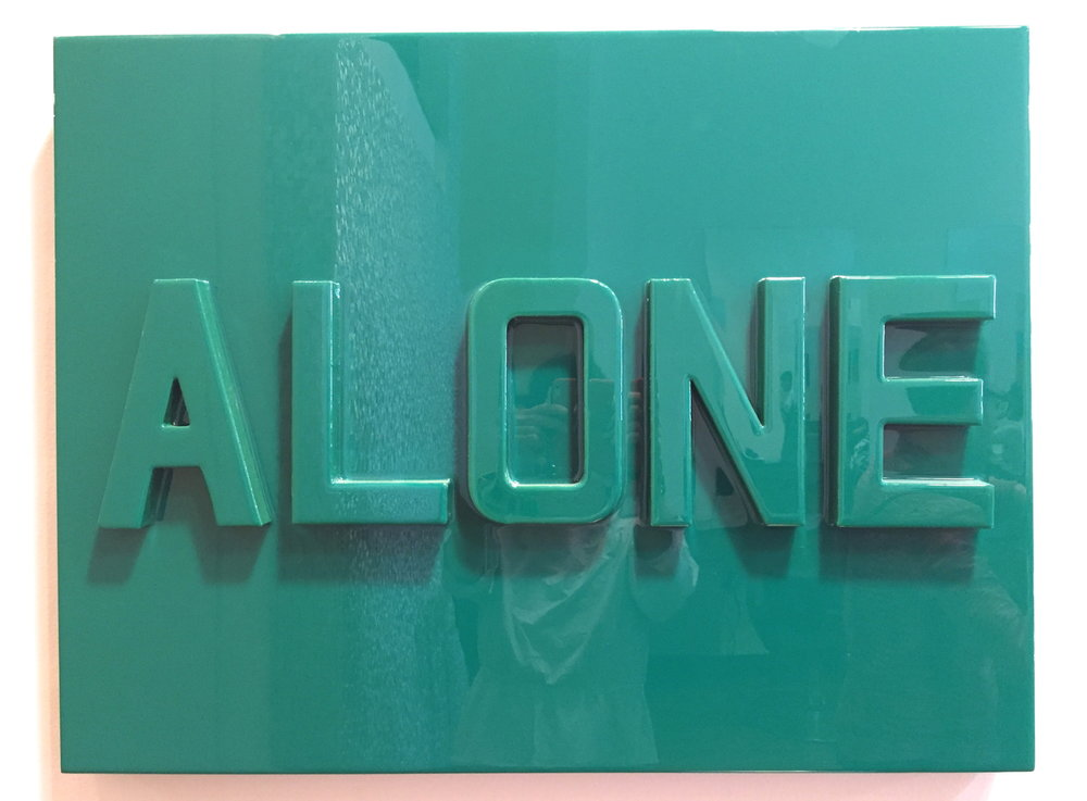 """ALONE (green)   Cardboard and tinted resin on wood panel.  24"""" x 36""""  $3100  SOLD"""