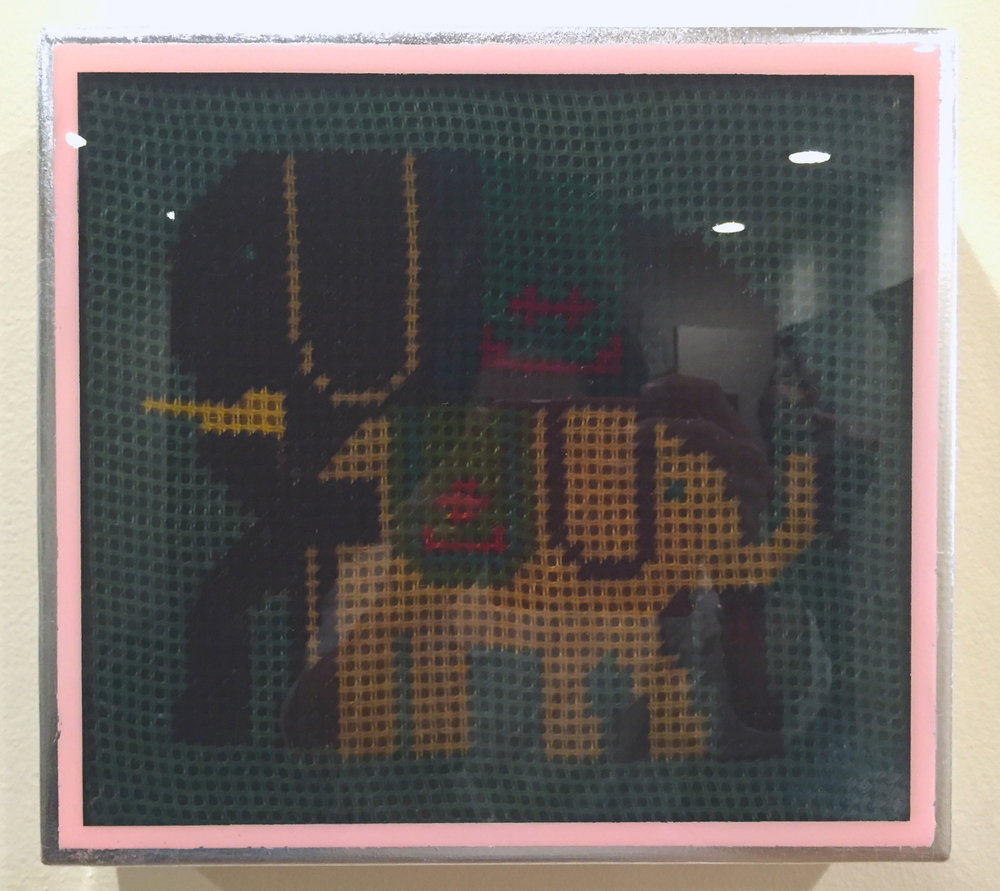 "Elephants, 2016   Vintage needlework, acrylic, silver leaf and resin on wood panel.  12"" x 14""  $1500  SOLD"