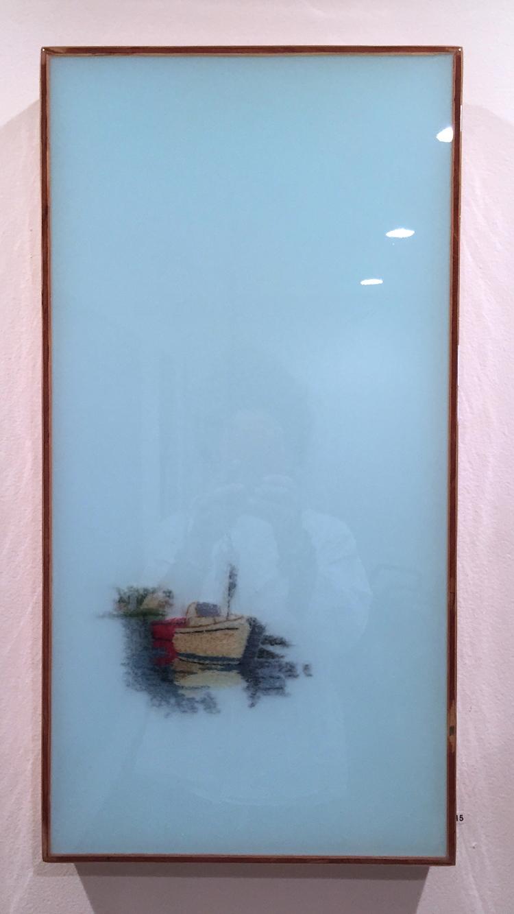 "Ghost Ship, 2016   Vintage needlework, resin on wood panel.  28"" x 14""  $2900   SOLD"