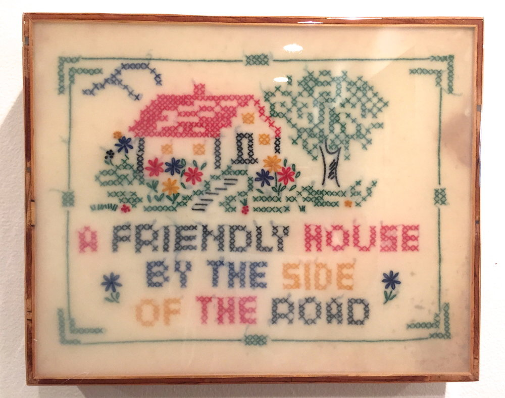"""A Friendly House, 2016   Vintage needlework and resin on wood panel.  14"""" x 18""""  $1400   SOLD"""