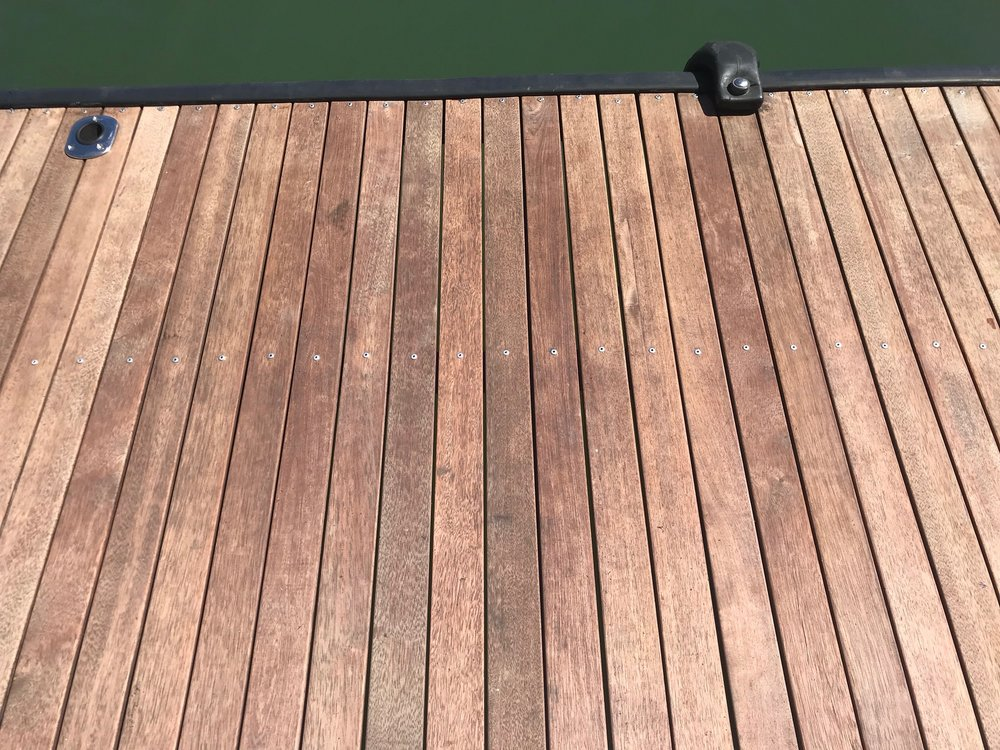 A raw timber deck.