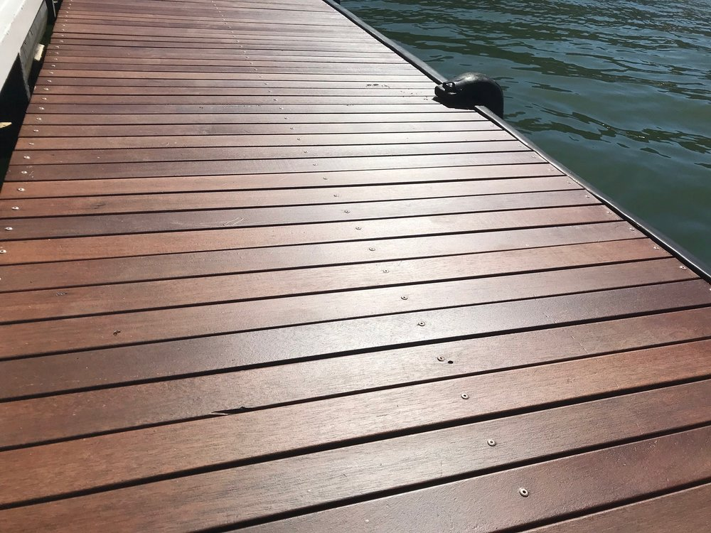 A deck finished with  Exterior Oil Acrylic.