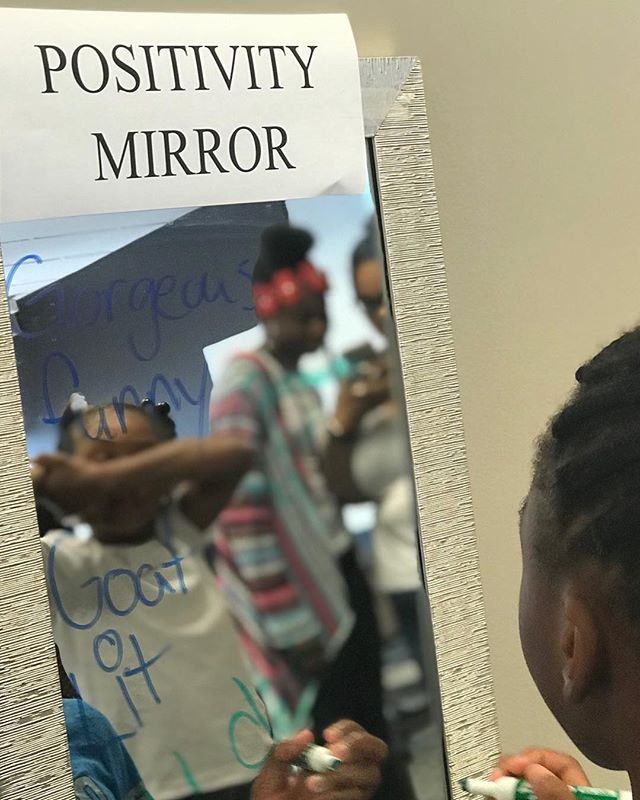 We've taught our girls to see the true beauty within themselves. Our positivity mirror is a strategy to teach self-acceptance.  #MyUniqueSisters #Sisterhood #positivevibes #selfacceptance #mentorship #Detroit #Michigan #Reachfortheworld
