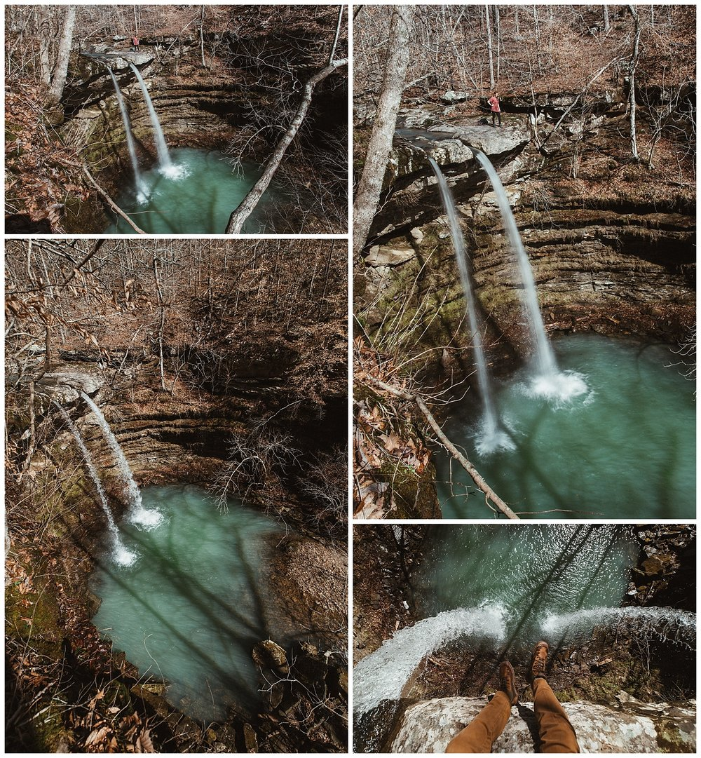 Compton's Double Falls from above, with Hanna for scale