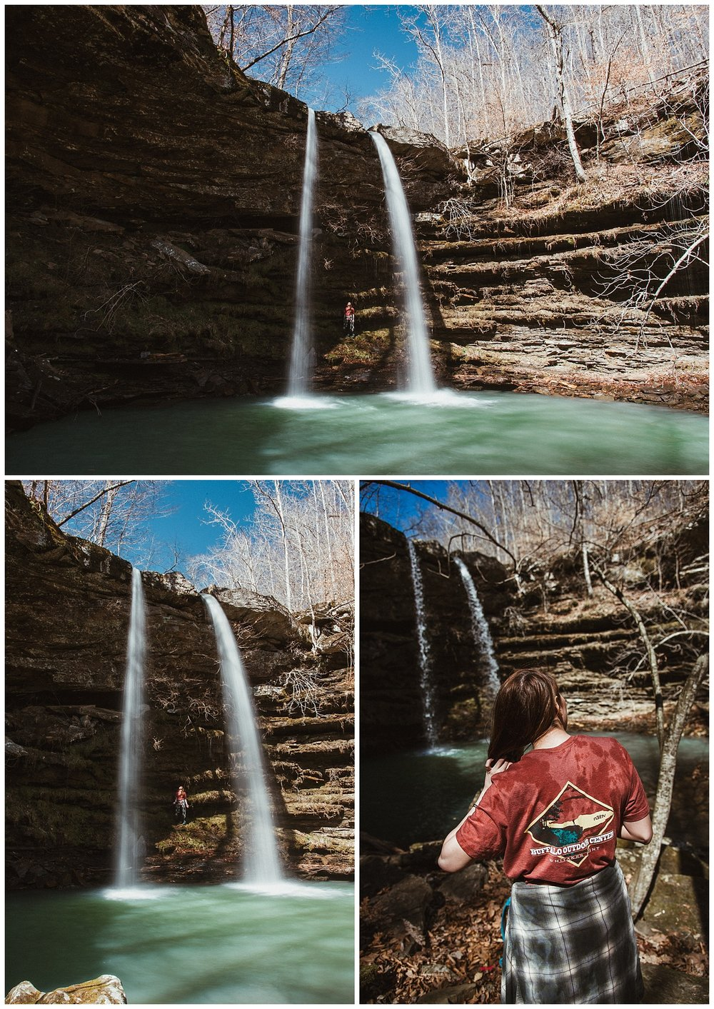 Compton's Double Falls from below with Hanna for scale