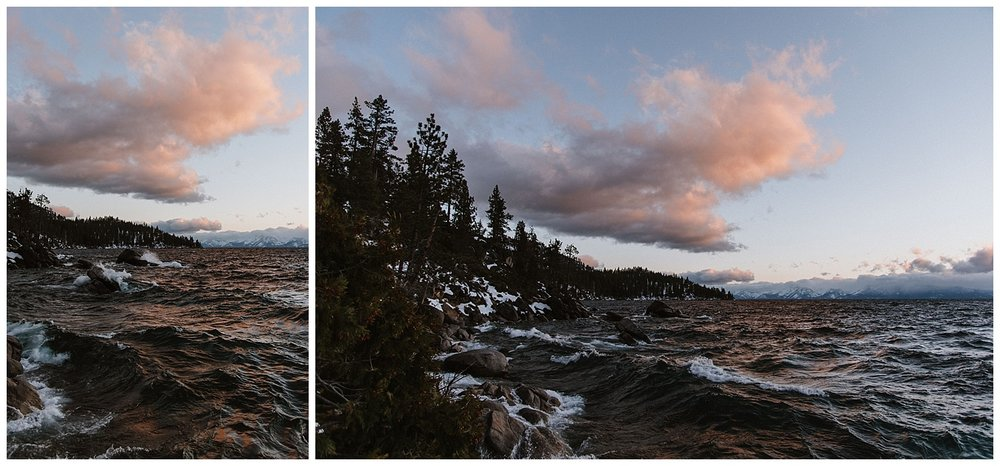 Moody sunset at Lake Tahoe, Bonsai Rock, Nevada