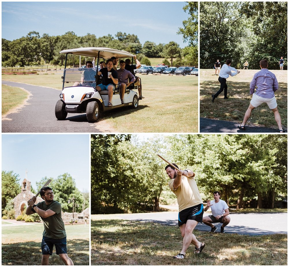 Tanner Burge Photo - Groomsmen stickball before getting ready