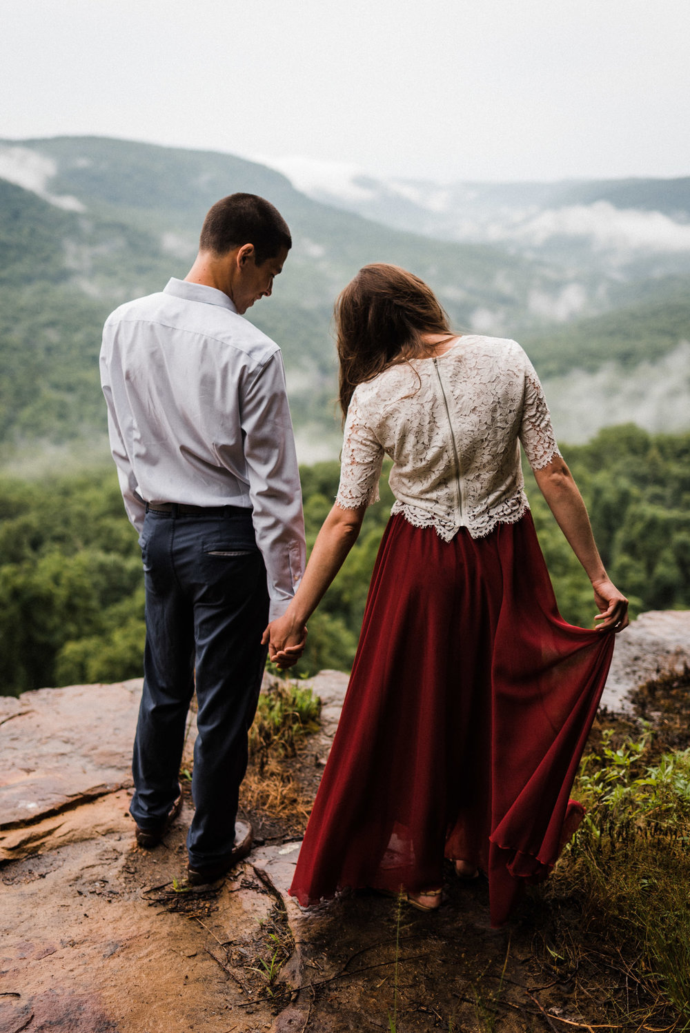Jade & Thomas misty mountain engagements Ozark Mountains Buffalo River - Tanner Burge Photography