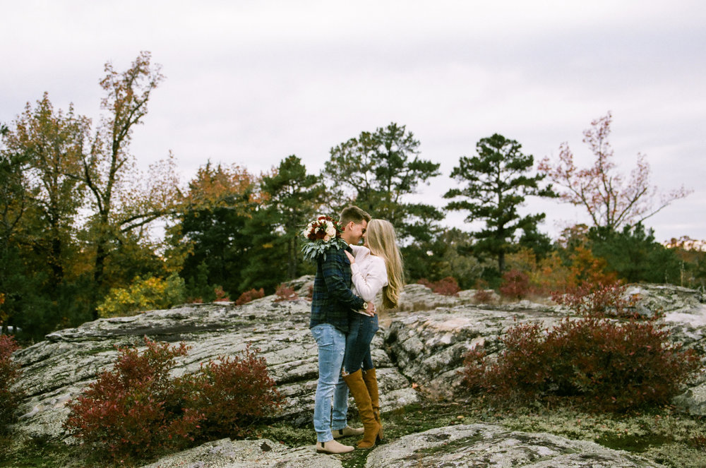 Tanner Burge Photography, Petit Jean State Park Engagements, 35mm Film, Shot on Film, How to Shoot Film, Fuji 400h, Petit Jean Engagement inspo, Arkansas Engagement Locations, Unique Location Ideas for Engagements, Arkansas Engagement Session, Adventure Engagement Session, Mountain Engagements, Arkansas Photographer, Arkansas Engagement Photographer, Posing Ideas, Engagement Outfit Inspo