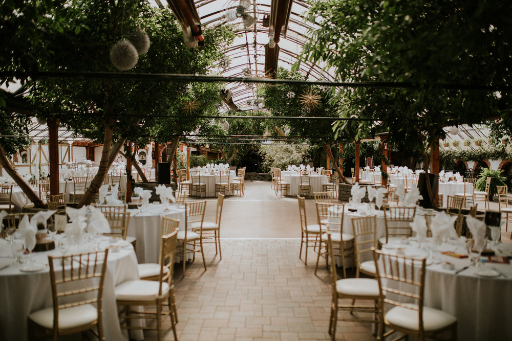Reception setup at a green house wedding at Madsen's greenhouse