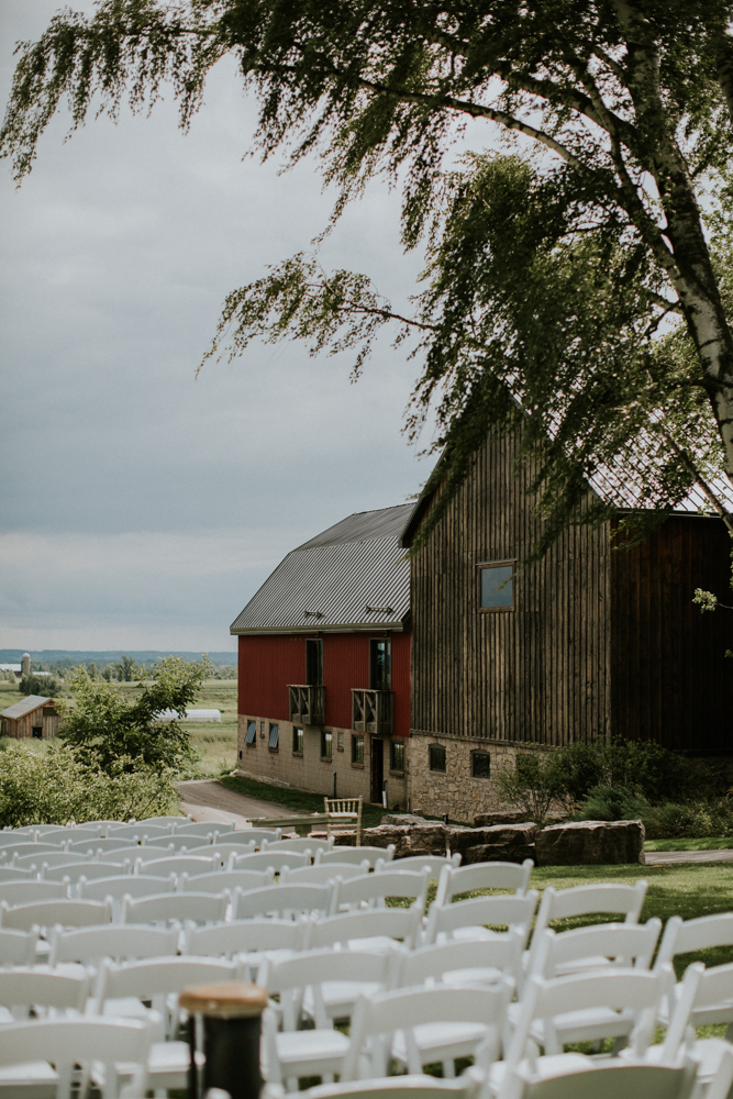 wedding ceremony setup at earth to table farm