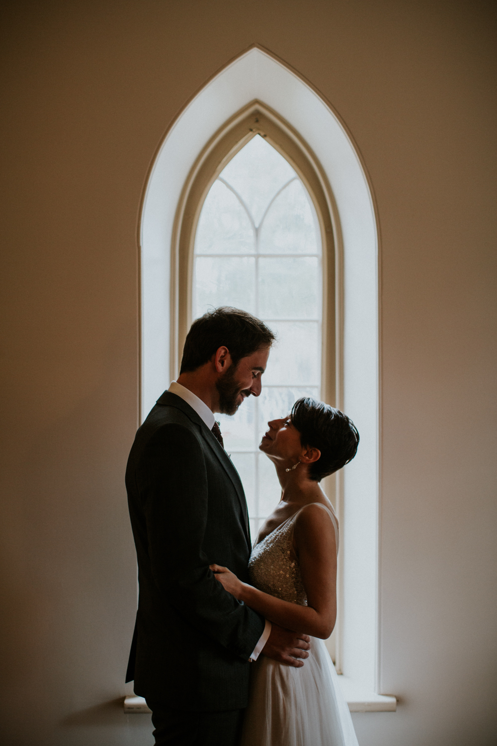 bride and groom portraits at enoch turner school house in Toronto Ontario