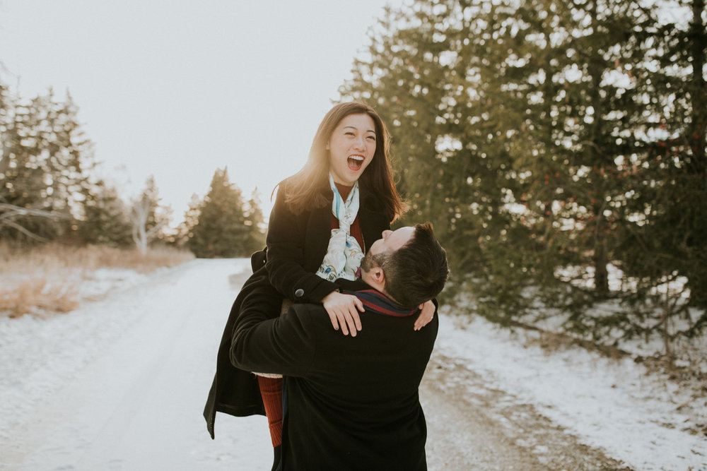Laughing couple during Burlington Ontario engagement session