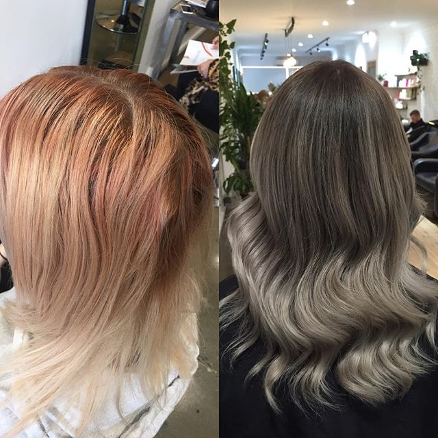 Still can't get over this amazing colour correction by #loveloxxannalisa she defiantly had her work cut out for her! #olaplex #colourcorrection #hairbeforeandafter #greyhair #olaplexau