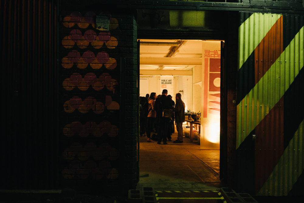 Biennial Lab entrance at night. Photo: Kristoffer Paulsen.