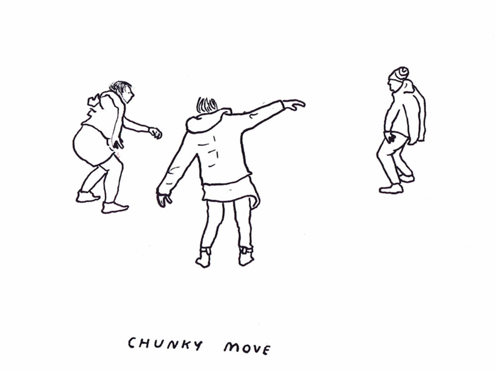 Movement workshop with Gideon Obarzanek: Illustration by Kenny Pittock.