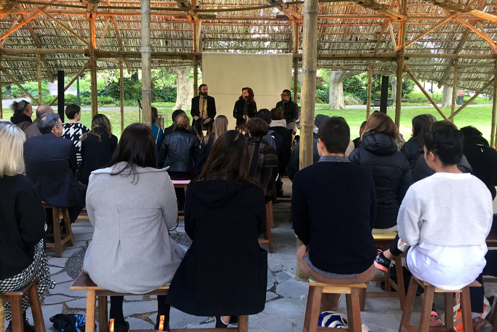 Timothy Moore, Natalie King and Khairuddin Hori at MPavilion's ' Biennial Lab: Rethinking public space '. Photo courtesy Lynda Roberts.