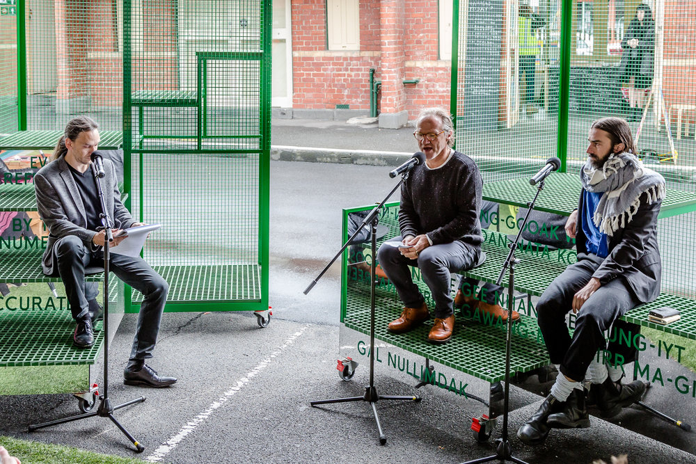 Jefa Greenaway, Tony Birch and Timothy Moore (SIBLING) talking as part of Unmonumental. Photo by Bryony Jackson.