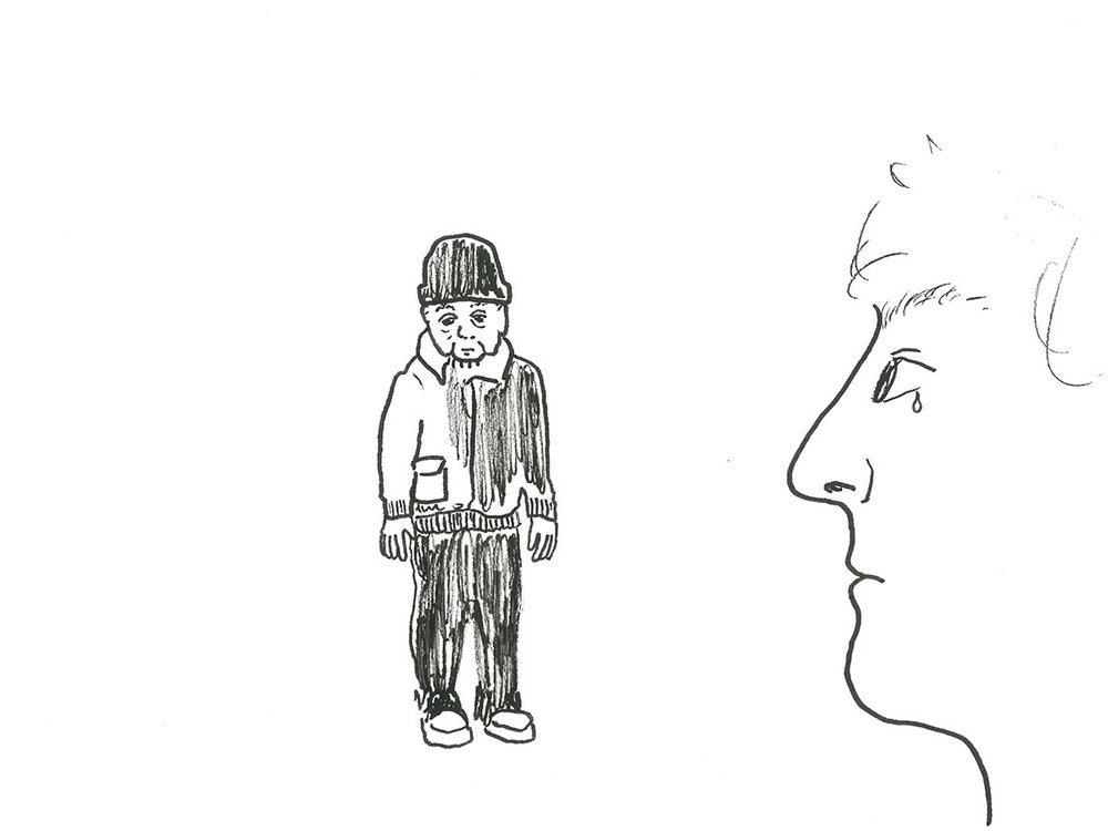 Drawing of George, the protagonist in Isobel Knowles and Van Sowerwine's animation as part of  Out in the Open . Drawing by Kenny Pittock.