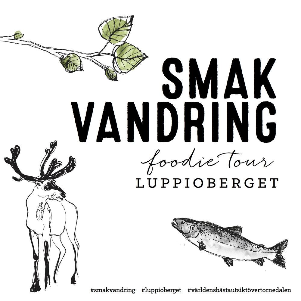 SMAKVANDRINGLUPPIOBERGETMaj-september 2019 - Vad gör man på en smakvandring?!Du följer med en kunnig guide, vandrar och äter smakliga saker med världens bästa utsikt över Tornedalen. En