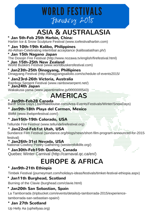 January world festivals 2015