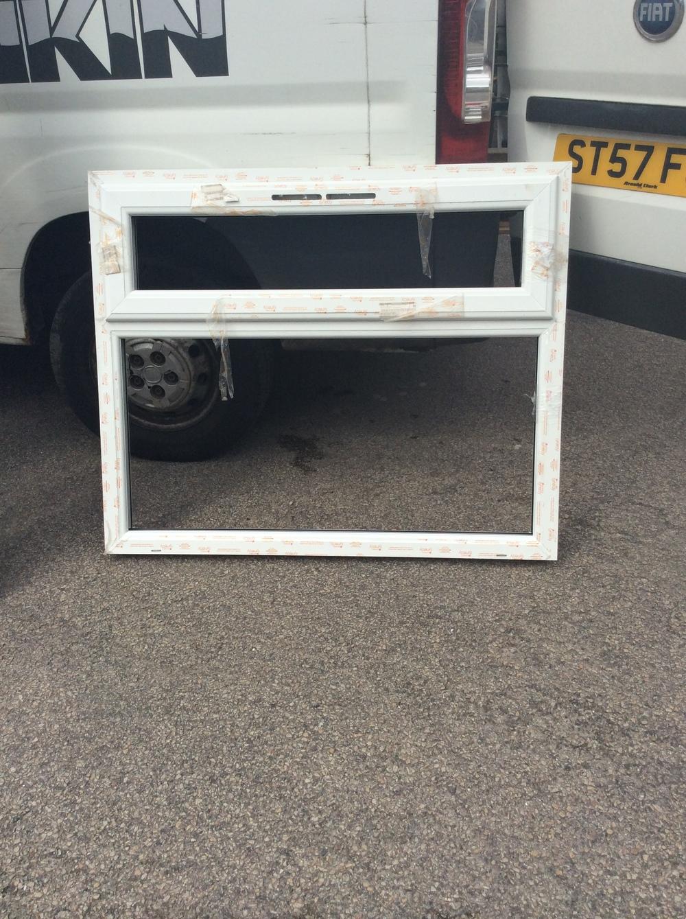White uPVC window with fan light 1200 mm wide x 990 mm high £25 + VAT