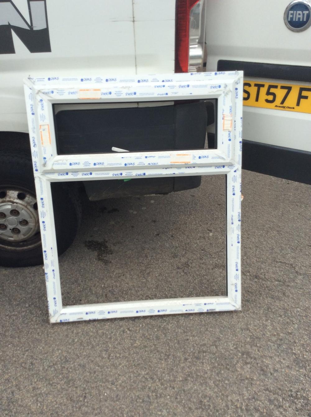 White uPVC window with fan light 915 mm wide x 1100 mm high £25 + VAT