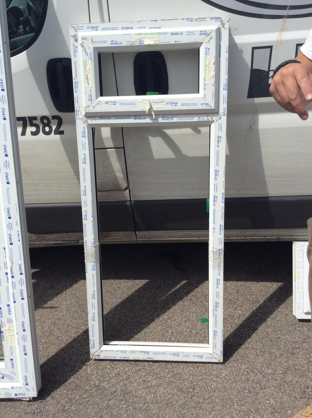 White uPVC window with fan light 600 mm wide x 1440 mm high £50 + VAT