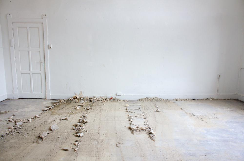 Atelier compositie, restmateriaal gips, 500x400 cm, 2015, Maastricht