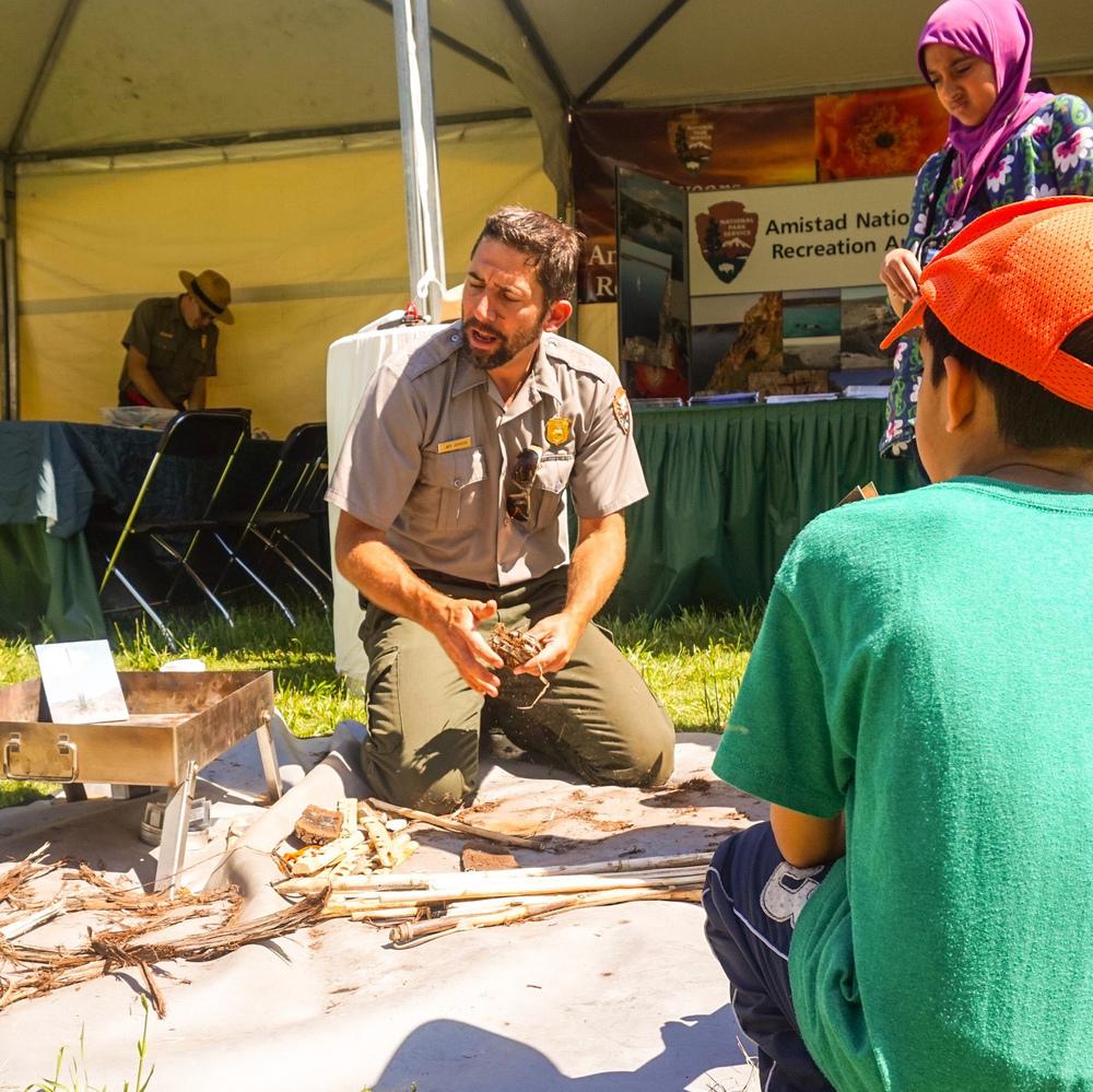 Texas park ranger explaining the long lasting effect of open ground fires.