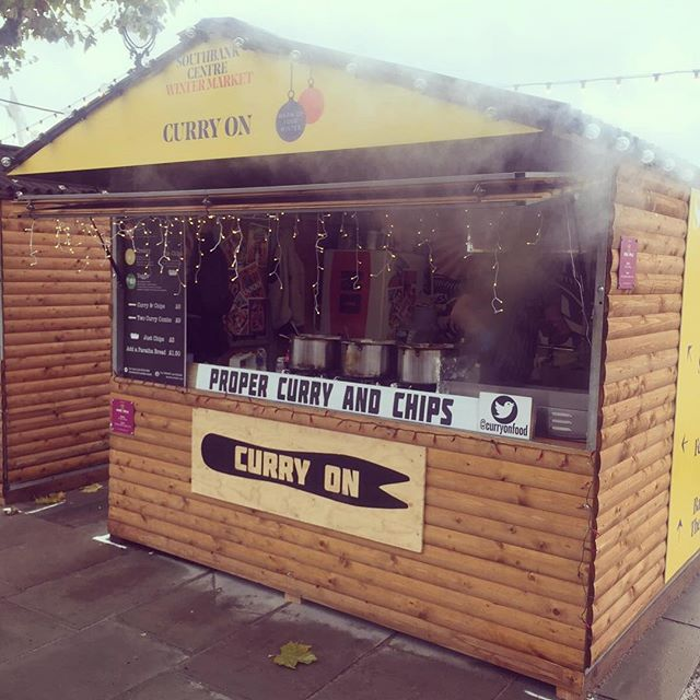 Our new home for the next 50 days serving up our game changing curry and chips @southbankcentre #scwintermarket 🌶🍟🎄#curryon #streetfood #london #indianfood #paratha #korma #spicy
