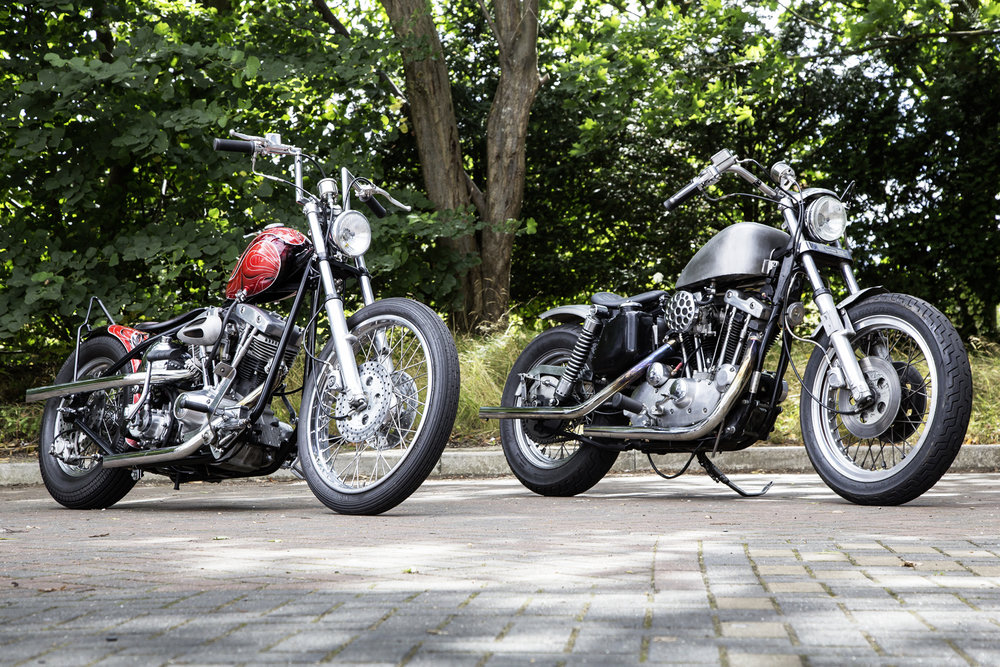 Chris: It's a 1981 FXE in a Paughco frame with 35mm twin discs and a Shovel front end. Hand controls are K-Tech, seat is by Tom Kelly. Pageant did the paint but I did all the work in my shed. I joined Krazy Horse about 15 years ago. Things have changed over the years – we're selling far more bikes and parts then ever before. Cathy: I've had the Ironhead Sportster for four years. It was originally white but we got rid of that and changed the mudguards and tank. I've got three other bikes – a GSX-R750 slab-side with an 1100 engine, a Kawasaki Z750 Ltd and a 1200 Custom Sportster, though if I go out on a Harley now I tend to prefer the Ironhead.