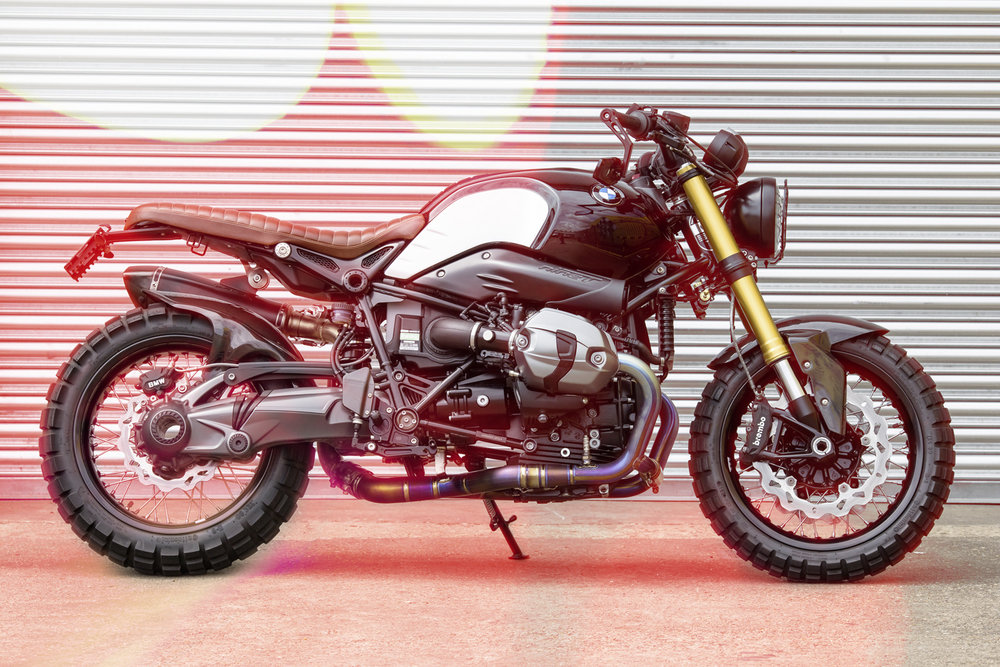 PP R nineT Scrambler  It features parts from LSL, Gilles and Roland   ands plus an Akropovic exhaust, Hyperpro fo   internals and – crucially – a Rapid Bike fuelling   system to clean up the low rpm response.