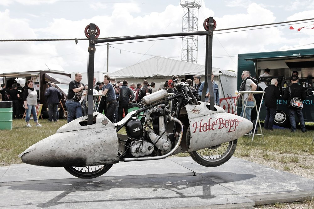 A flying BSA  was available to get a bird's eye view of the Cafe Racer Festival. Running on a hawser, the BSA B33 soared over 100 trade stands, sprints and track antics.