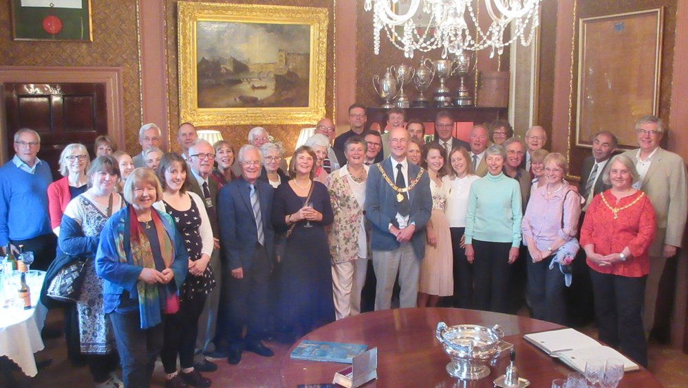 Members, friends and supporters of Next Stage Theatre Company with the Right Worshipful the Mayor of Bath Councillor Paul Crossley and the Mayoress Margeret Crossley