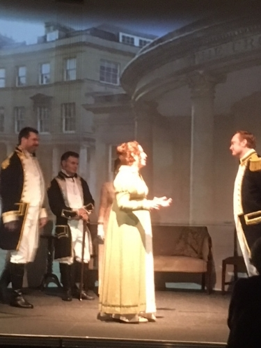 Barbara Landis as Jane Austen and Ryan de Ryke as Captain Wentworth in  Persuasion