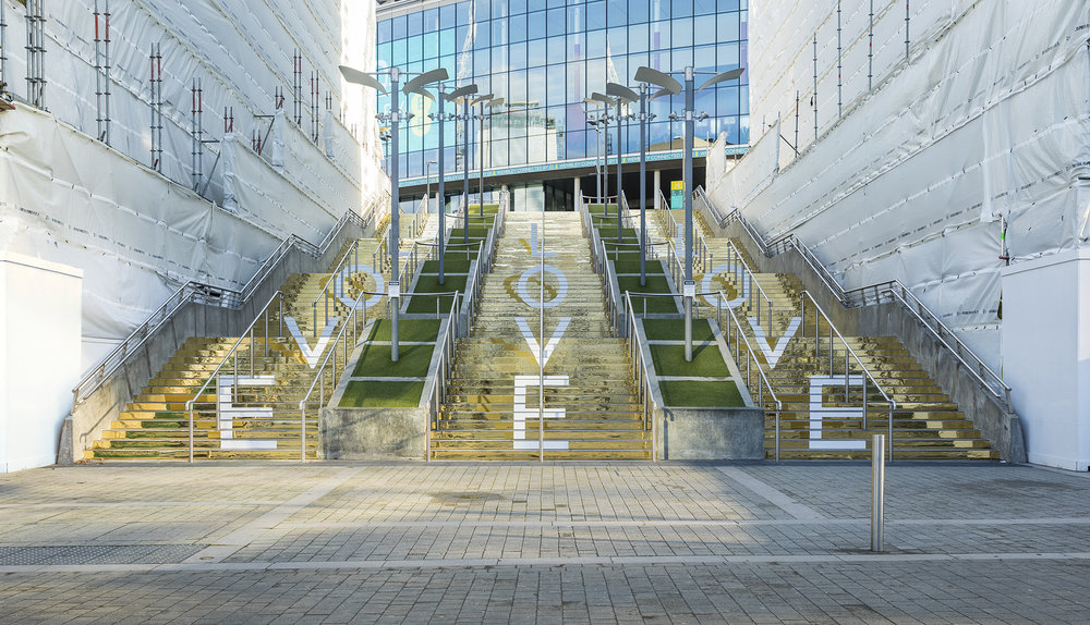 LOVE, LOVE, LOVE  2018 - Site specific installation commissioned by Disegno Magazine and Quintain for Wembley Park