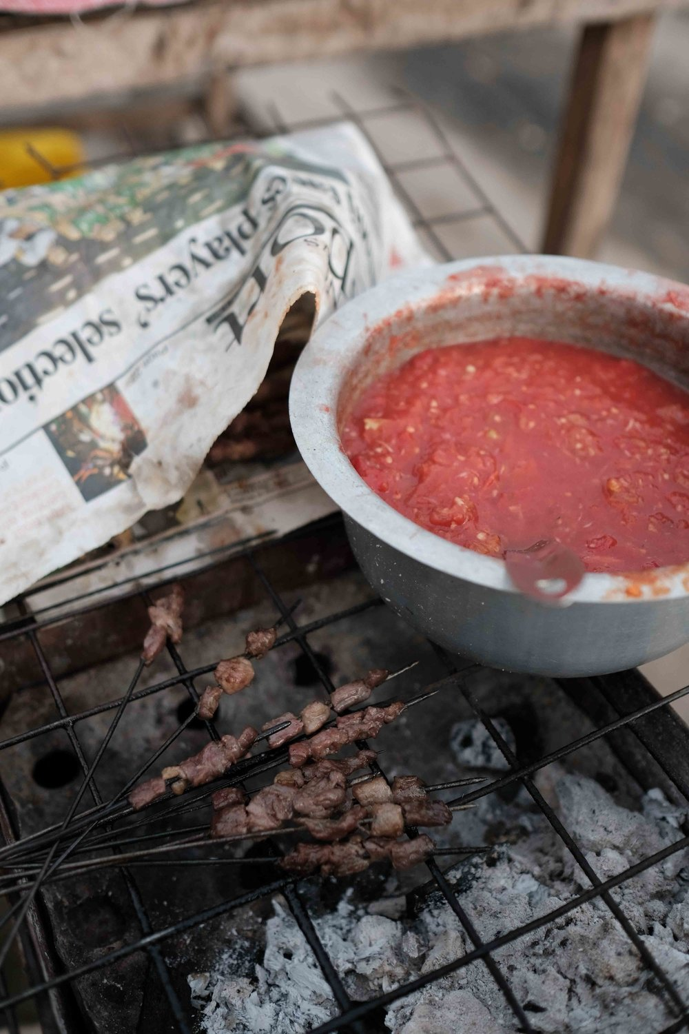 Hot chilly and tomato sauce compliments the grilled meat