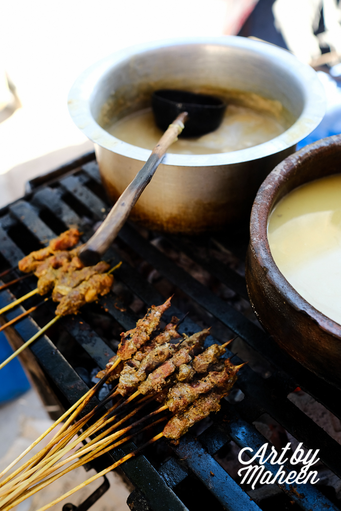 Mishkaki (beef skewers) on the grill