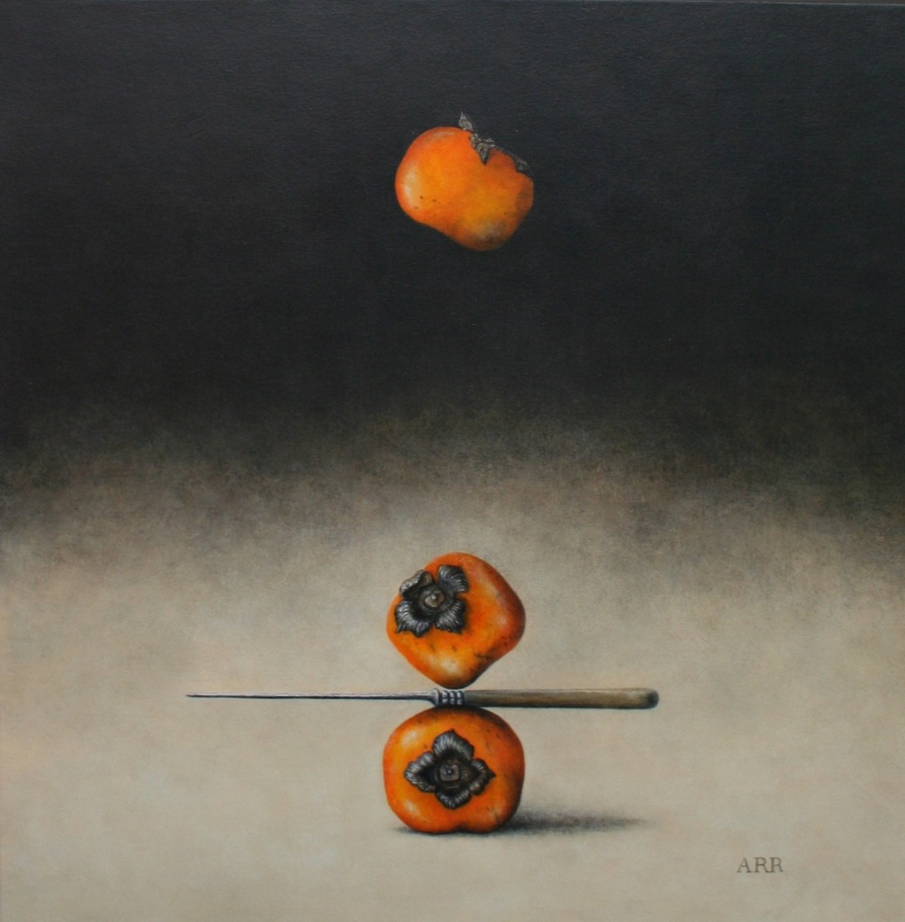Three Persimmons with Knife