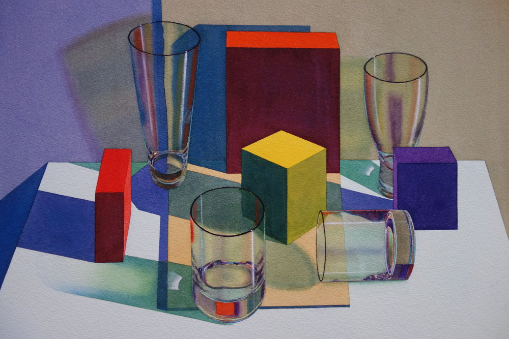 Laurence Wallace : Yellow Boxes and Four Glasses