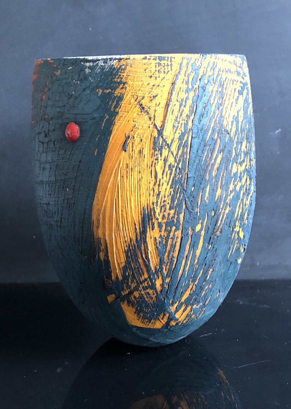 Peacock with Flame Orange/Yellow Vessel
