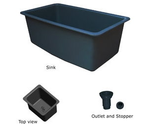 Sink, 32x18x13, black polypropylene - TSL3218SINK-B (30 LBS) $267