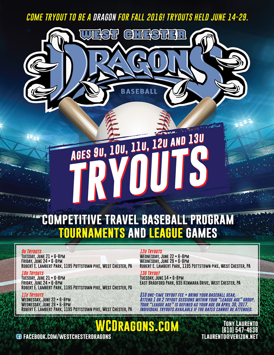 Tryout for the West Chester Dragons Travel Baseball Teams