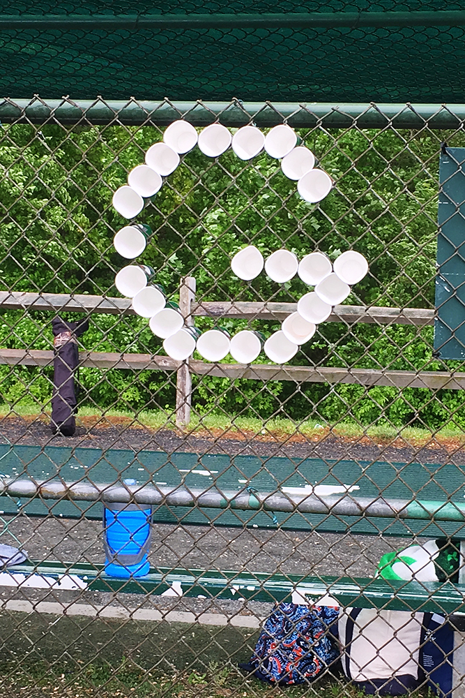 "In Coach Graham Hudgings memory, his 11U West Chester Dragons NL baseball team honored him with a ""G"" on the fence to keep him with them at a tournament this weekend."