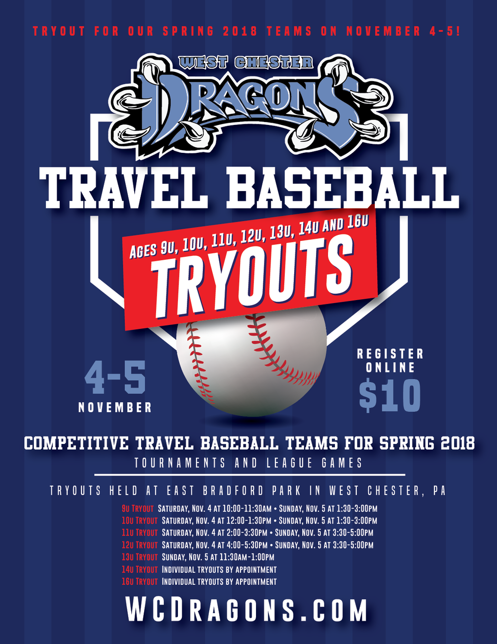 Open Tryouts for West Chester Dragons Travel Baseball's Spring/Summer 2018 Teams