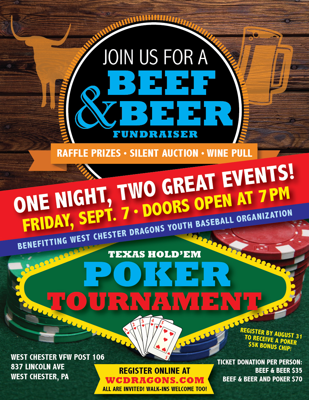 West Chester Dragons Beef & Beer and Texas Hold'Em Poker Tournament flyer